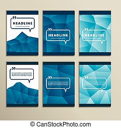 Set vector abstract paintings on blue background