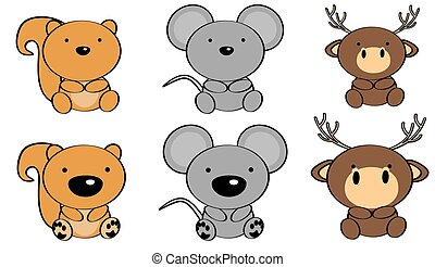 sweet baby animals cartoon set in vector format