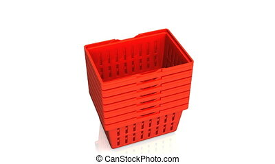 Top Of Red Shopping Baskets On White Background