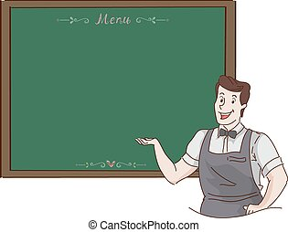 Menu Board Waiter - Illustration of a Waiter Presenting the...