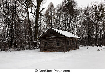 old wooden abandoned house
