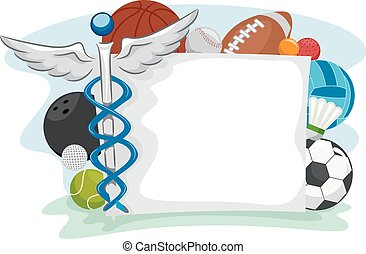 Sports Medicine Frame - Frame Illustration of Icons Commonly...