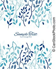 Vector blue forest vertical double borders frame invitation...