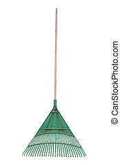 Green rake - A standard isolated image of a green plastic...