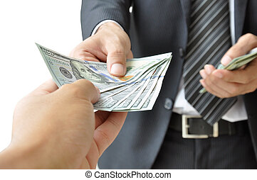 Hand giving money - United States Dollars (or USD)