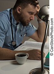 Medical student before exams - Student of medicine is...