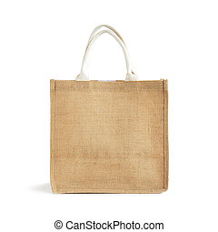 Hessian or jute bag - reusable brown shopping bag with loop...