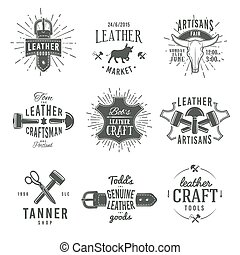 Second set of grey vector vintage craftsman logo designs,...
