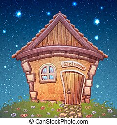 Vector illustration of night cartoon home on meadow