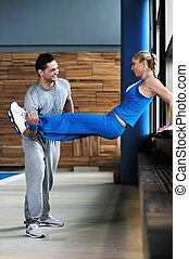 fitness personal trainer on fitness classes supporting group...