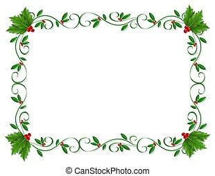 Natale, agrifoglio, bordo, ornamentale
