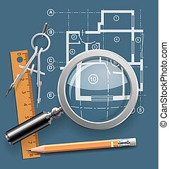 Compasses, pencil and ruler on a background of the drawing apartments