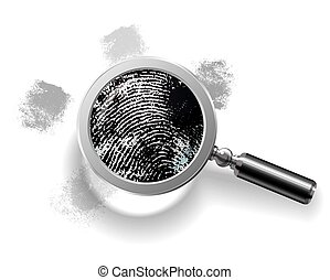 Fingerprints enlarged by magnifying glass. Vector...