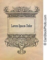 Vintage frame on crumpled ancient paper. Vector illustration