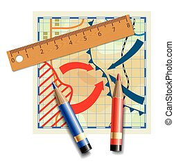 Wooden ruler and colored pencils on a fictional and stylized...