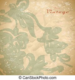 Abstract background of vintage foliage pattern on faded worn paper