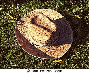 Retro yellow straw hat