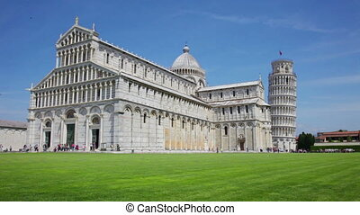 Tourists on Square of Miracles visiting Leaning Tower in...