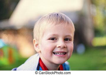 little boy - Portrait of happy little boy in park