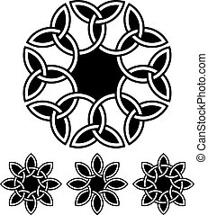 A set of flower-like 8-petal knots, vector illustration for...