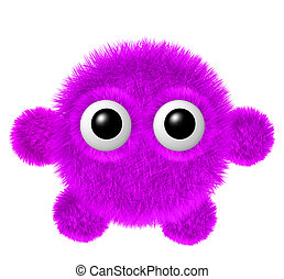 Little magenta furry monster with arms and legs. Fluffy...