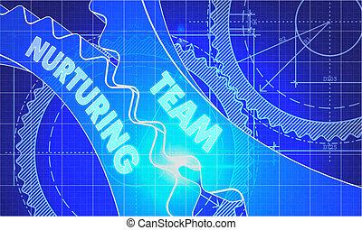 Team Nurturing Concept. Blueprint of Gears.