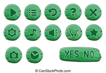 Set of stone round green game icons