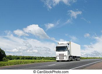 blanco, camión, país, carretera, debajo, azul,...