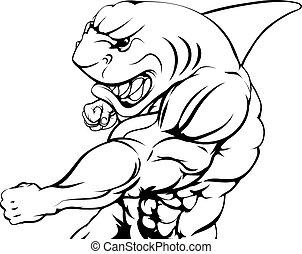 Shark mascot fighting