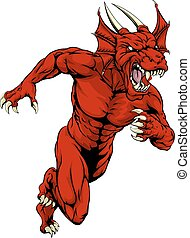Red dragon mascot running - An aggressive muscular red...