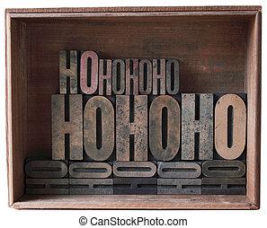box of letterpress wood type ho ho ho - a wooden box filled...