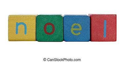 noel in children\\\'s block letters