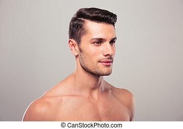 pelado, jovem, olhar,  torso, afastado, homem