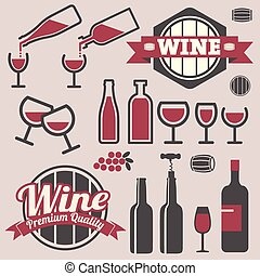 Wine labels and icons collection