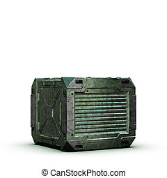 sci-fi camouflage military box on white background - high...