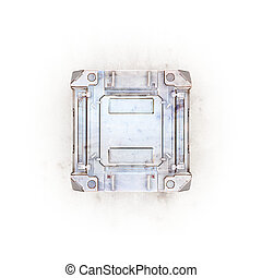 sci-fi gold military box  - 3d render on white background