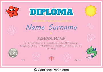 Preschool Kids Diploma certificate background  design template vector
