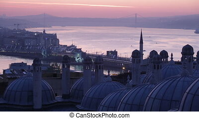 Early morning before sunrise in Istanbul, a view of...