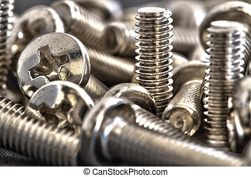 Stacked of chrome bolts - Macro shots stacked of small...