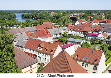 The historic old town of Templin, East Germany