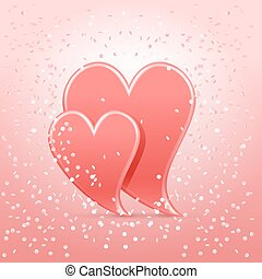 Couple hearts with confetti - Two coral hearts with confetti...