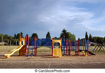 Empty Playground - An empty playground with a nice blue sky