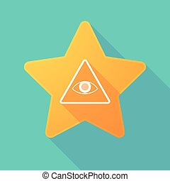Star icon with an all seeing eye - Illustration of a long...
