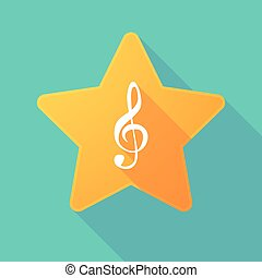 Star icon with a g clef - Illustration of a long shadow star...