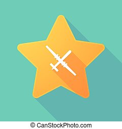 Star icon with a war drone - Illustration of a long shadow...
