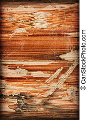 Old Varnished Wooden Panel Cracked Scratched Peeled Vignette...