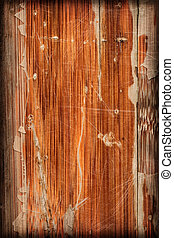 Old Varnished Wooden Panel Cracked Scratched Peeled Vignette...