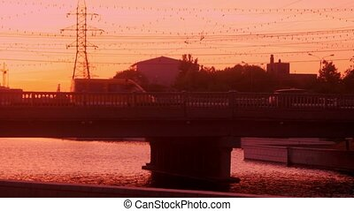 City bridge in the morning, Astrakhan, Russia