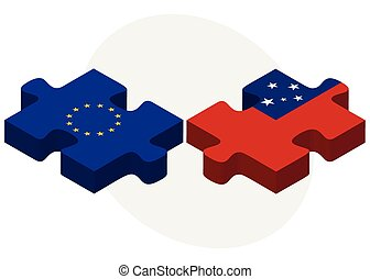 European Union and Samoa Flags in puzzle isolated on white...