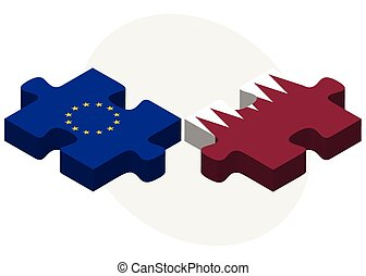 European Union and Qatar Flags in puzzle isolated on white...